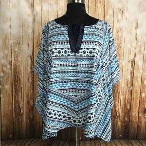Lane Bryant poncho shirt boho blue white beaded
